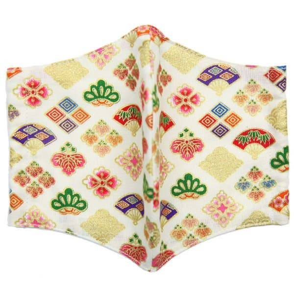 Kimono Motif Washable Cotton Mask - Cream