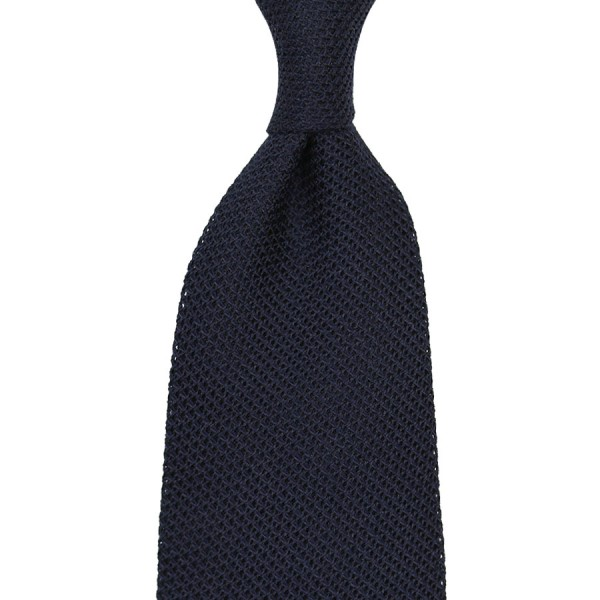 Plain Grenadine / Garza Fina Linen / Silk Tie - Midnight