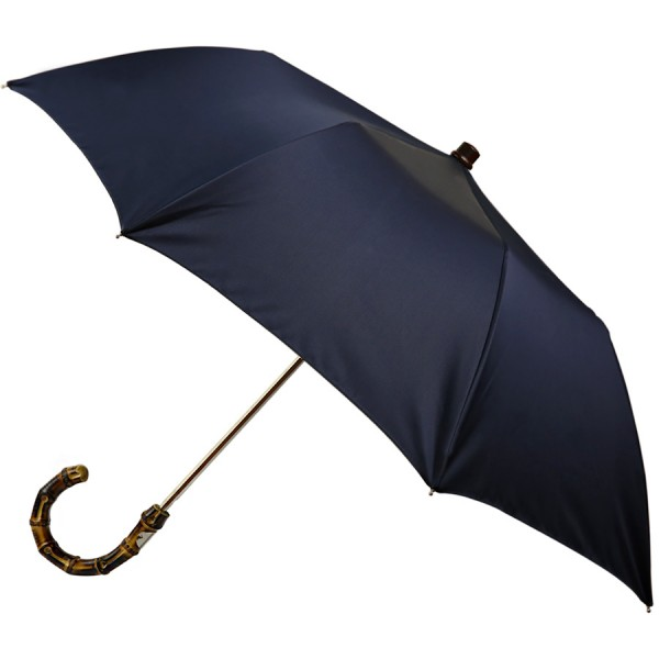 Plain Navy Travel Umbrella - Bamboo