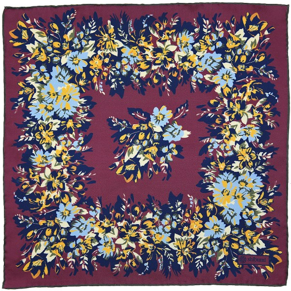 Floral Printed Silk Pocket Square - Burgundy - 40 x 40cm