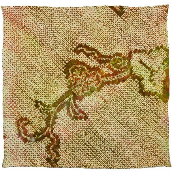 Vintage Kimono Silk Pocket Square - Green - Handrolled