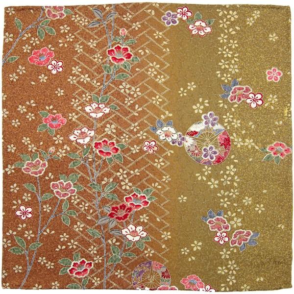 Kimono Silk Pocket Square - Ocher - Handrolled