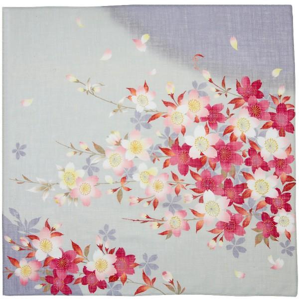 Kimono Motif Cotton Handkerchief - Grey
