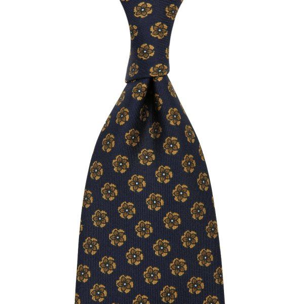Floral Printed Silk Tie - Navy XV - Hand-Rolled