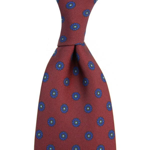 Floral Printed Silk Tie - Burgundy VIII - Handrolled