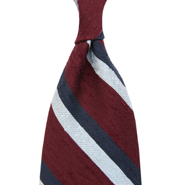 Striped Shantung Silk Tie - Burgundy / Navy / Sky Blue - Handrolled