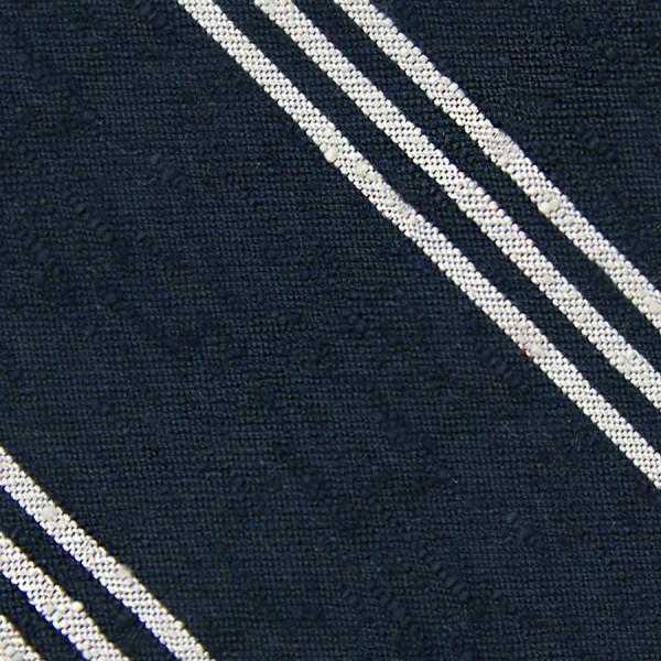 Triple Stripe Shantung Bespoke Tie - Navy / White