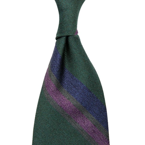 Mottled Repp Stripe Silk Tie - Bottle Green - Hand-Rolled