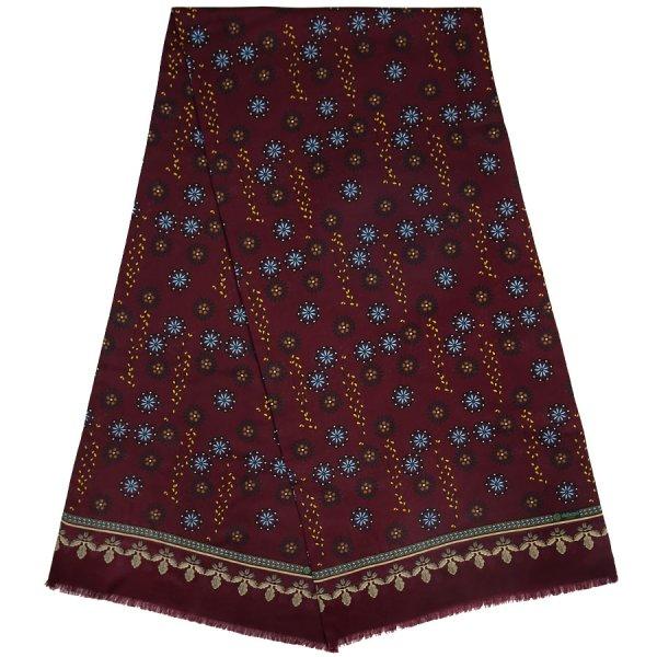 Kimono Motif Wool / Silk Scarf - Burgundy