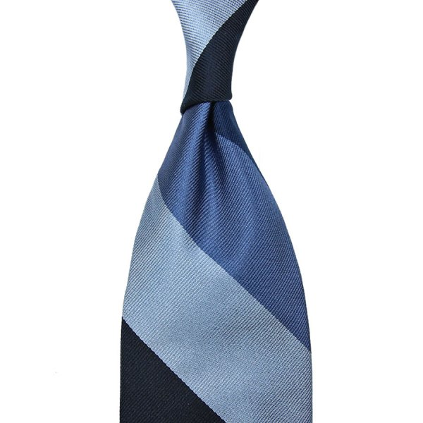 Block Stripe Silk Tie - Midnight / Navy / Blue / Sky - Hand-Rolled