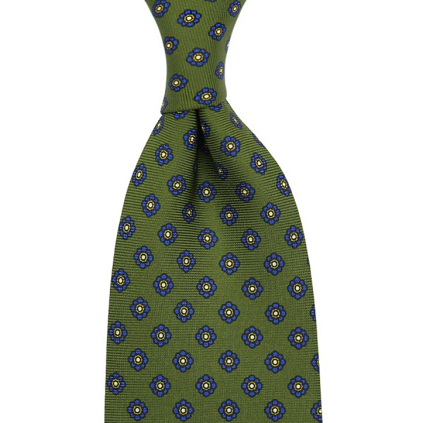 Shibumi-Flower Printed Silk Tie - Olive - Handrolled - 160cm