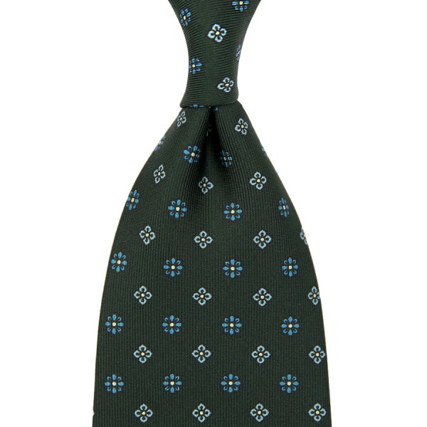 Floral Printed Silk Tie - Madder Green - Handrolled