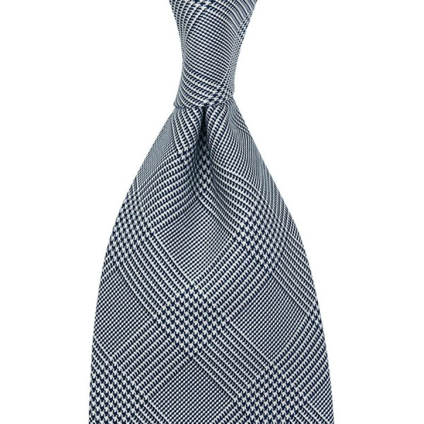 Glencheck Woven Silk Tie - Navy / White - Self Tipped - 140cm