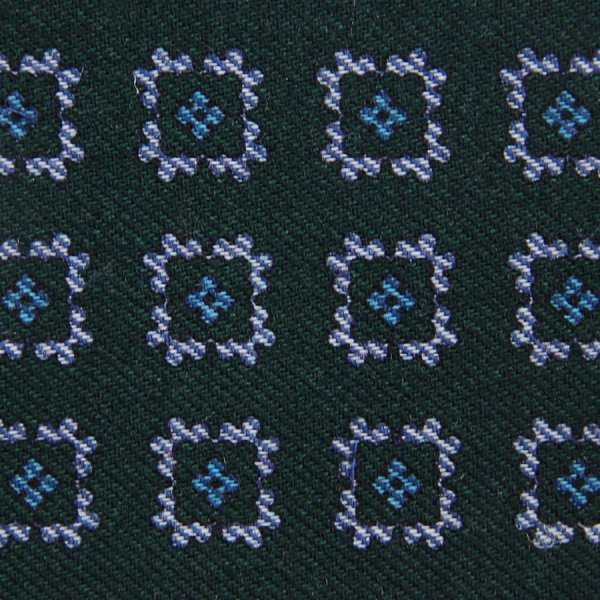 Floral Motif Wool Bespoke Tie - Forest