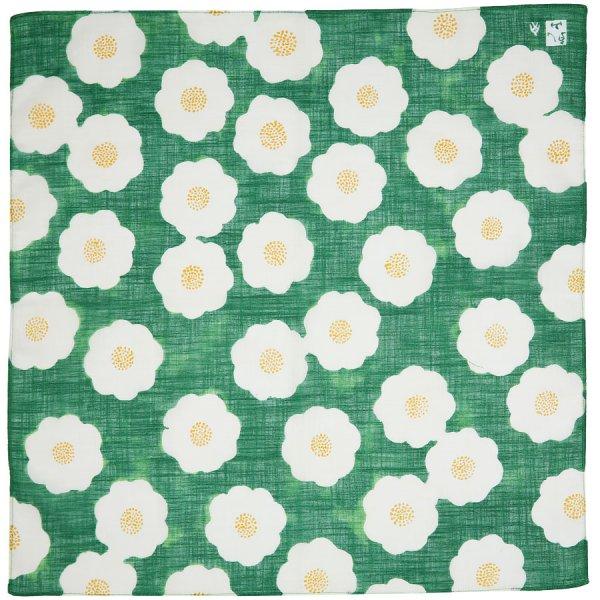 Floral Motif Cotton Handkerchief - Green