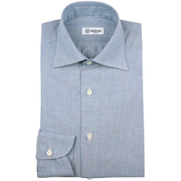 Carlo Riva Cotton / Cashmere Oxford Shirt - Light Blue - Semi Spread