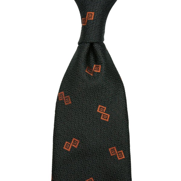 Geometrical Boucle Silk Tie - Bottle - Hand-Rolled