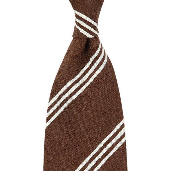Triple Bar Shantung Silk Tie - Brown - Handrolled