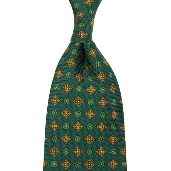 Floral Printed Panama Silk Tie - Forest Green - Handrolled