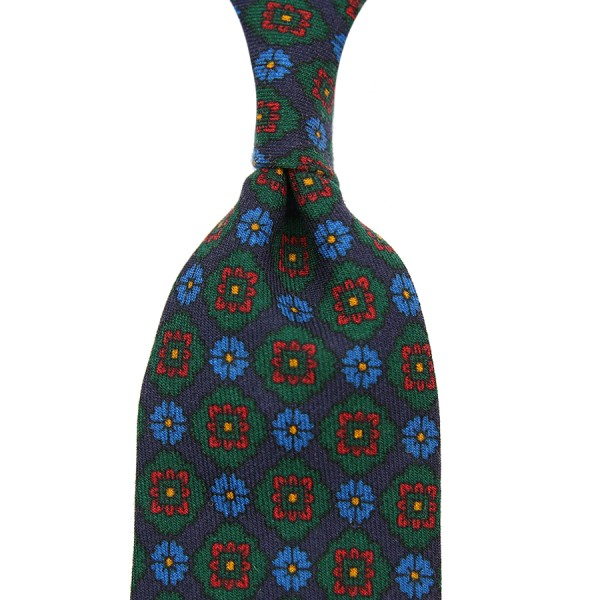 Medallion Printed Wool Tie - Navy
