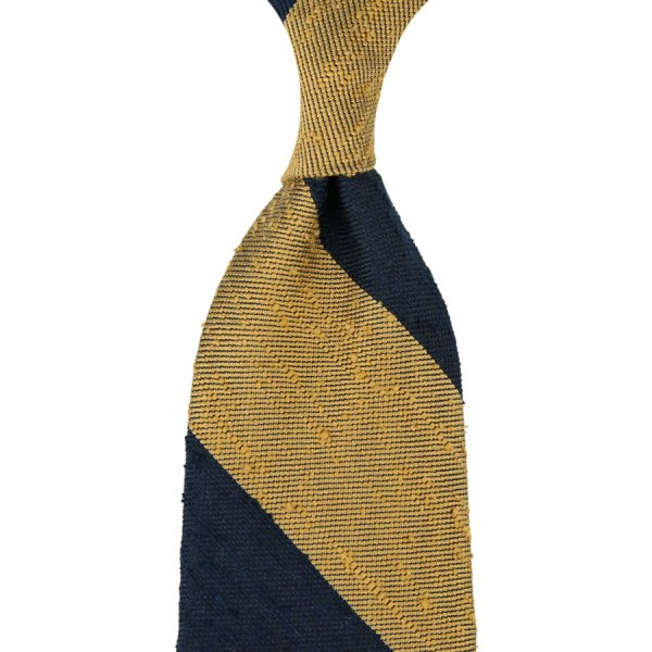 7-Fold Block Stripe Soft Shantung Silk Tie - Navy / Gold