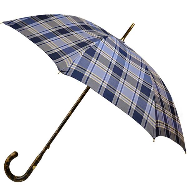 Blue Checked Umbrella - Hickory