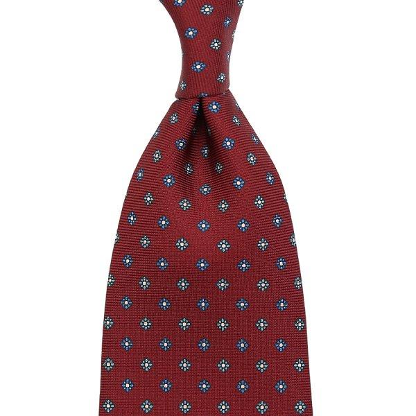 Floral Printed Silk Tie - Cherry II - Handrolled