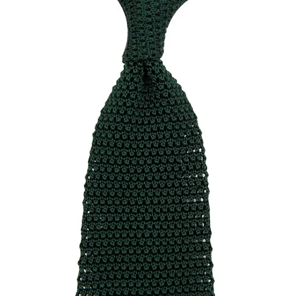 V-Point Knit Tie - Forest Green - Silk