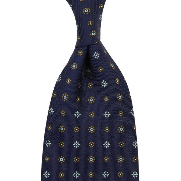Floral Printed Silk Tie - Navy VII - Handrolled