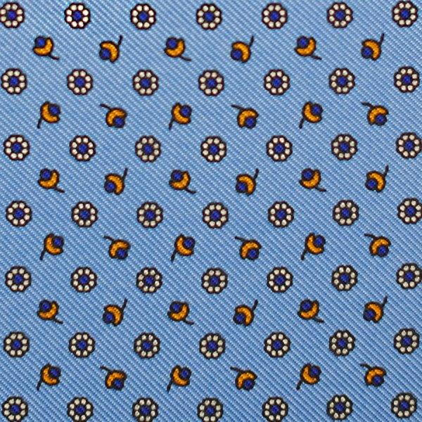 Floral Printed Silk Bespoke Tie - Sky Blue