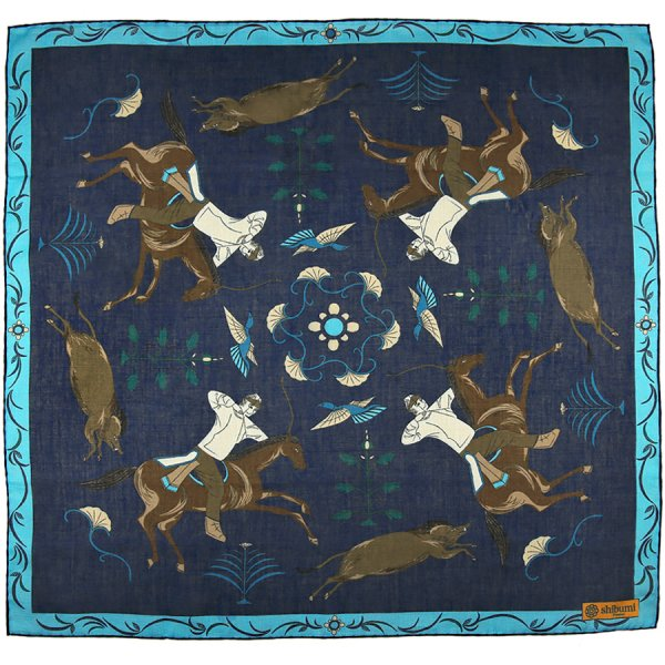 Japanese Hunter Cotton Blend Neckerchief - Navy - 60x60cm