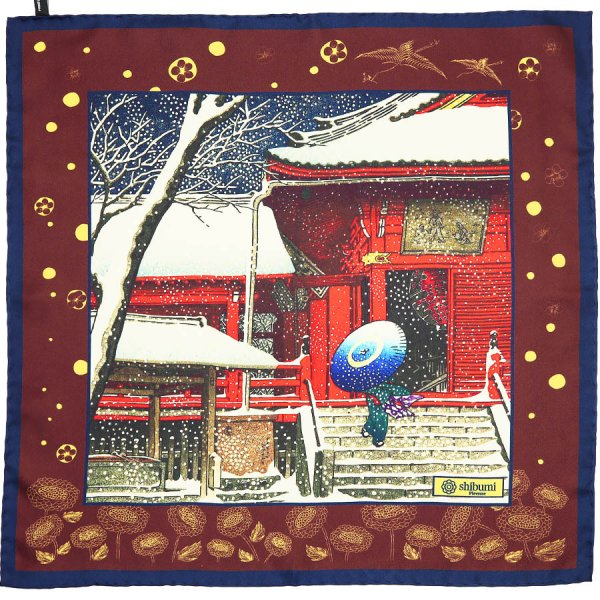 Ukiyo-e Silk Pocket Square - Yuki Mairi - 40x40cm