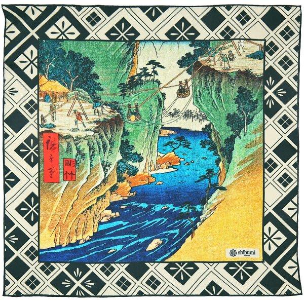 Ukiyo-e Silk Pocket Square - Keiryu - 40x40cm