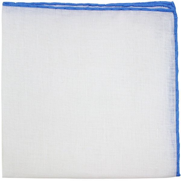 Irish Linen Shoestring Pocket Square - White / Blue