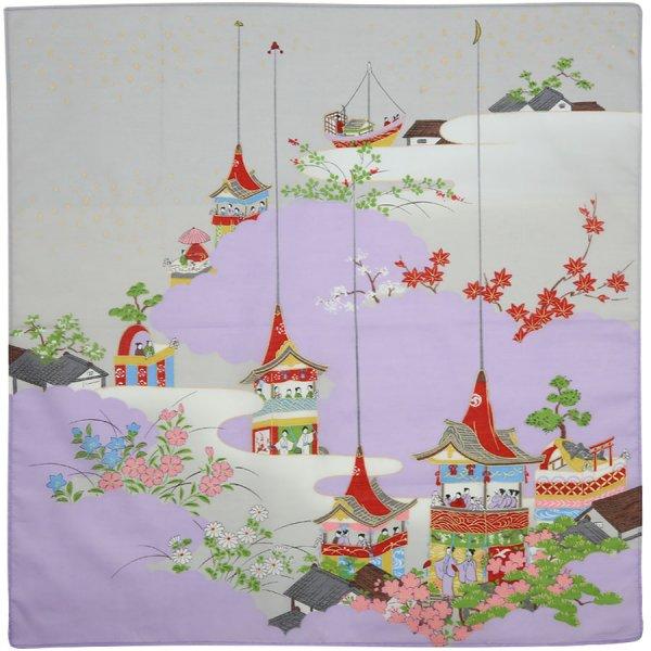 Kyoto Motif Cotton Handkerchief - Multicolor