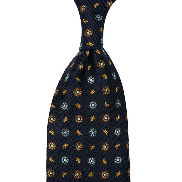 7-Fold 50oz Floral Printed Silk Tie - Midnight