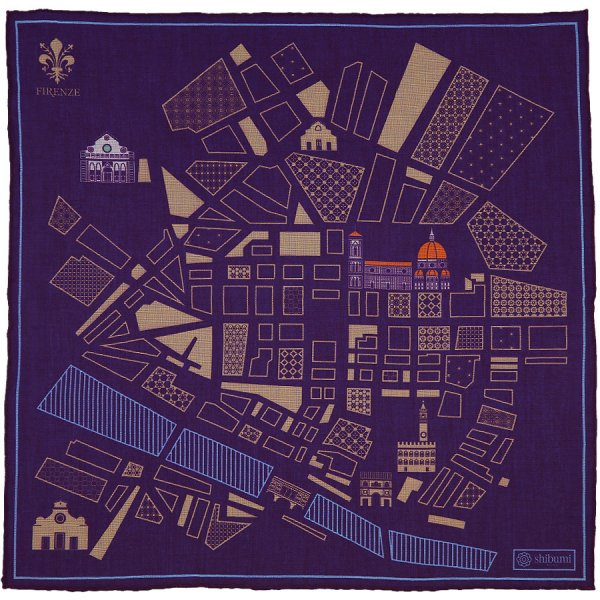 Firenze Map Cotton Blend Pocket Square - Eggplant - 40 x 40cm