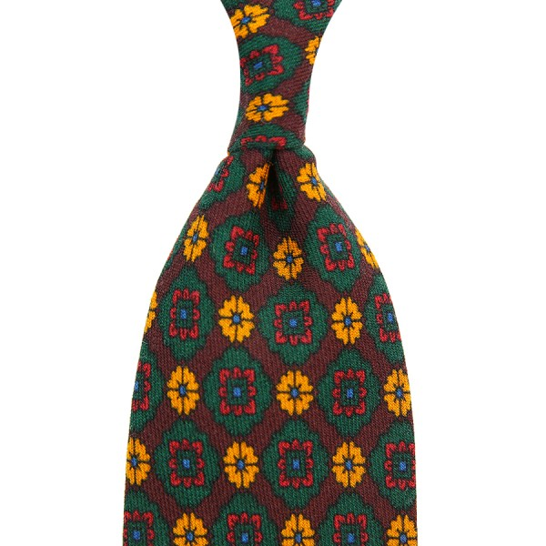 Medallion Printed Wool Tie - Burgundy