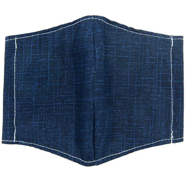 Kimono Motif Washable Cotton Mask - Navy VI