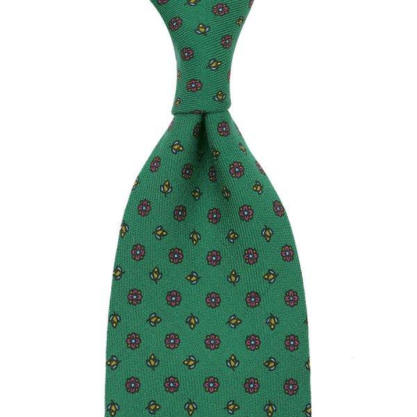 Floral Printed Wool Tie - Green - Handrolled