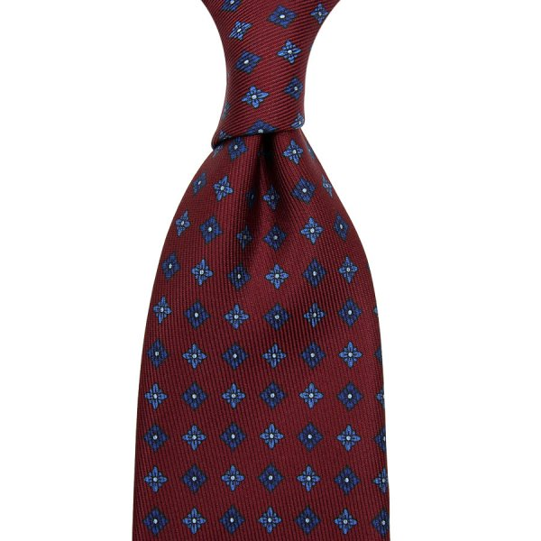 50oz Floral Printed Silk Tie - Cherry - Hand-Rolled