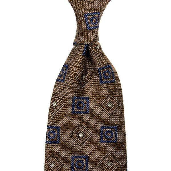 Geometrical Silk / Wool / Cotton Tie - Beige - Hand-Rolled