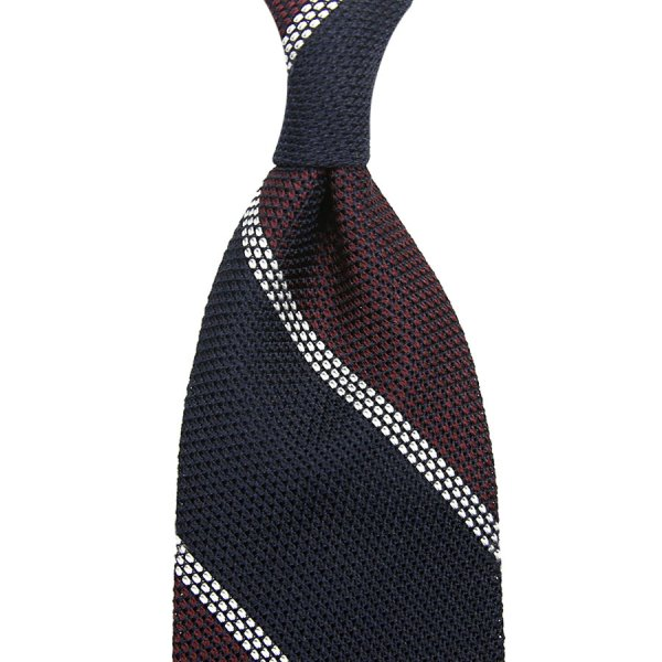 Block Stripe Grenadine / Garza Piccola Silk Tie - Navy / Burgundy / White