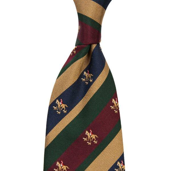 Crest Repp Silk Tie - Navy / Burgundy / Beige - Hand-Rolled