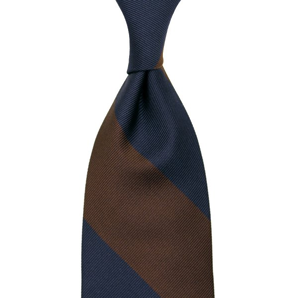Block Stripe Silk Tie - Navy / Brown - Hand-Rolled