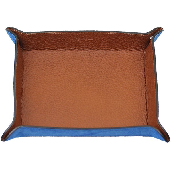 Shibumi Sen Leather Travel Tray - Azure / Cognac