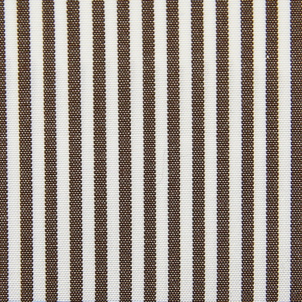 Poplin Made-To-Order Shirt - White / Brown - Pencil Stripe