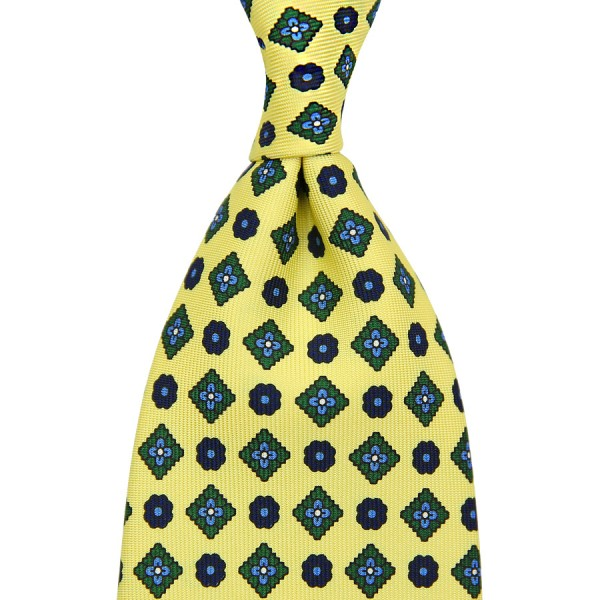 Floral Printed Silk Tie - Yellow - Handrolled