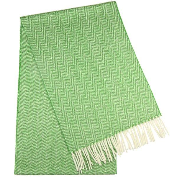 Cashmere Herringbone Scarf - Green