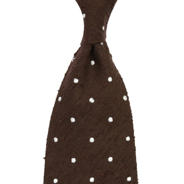 Dotted Shantung Silk Tie - Brown - Hand-Rolled